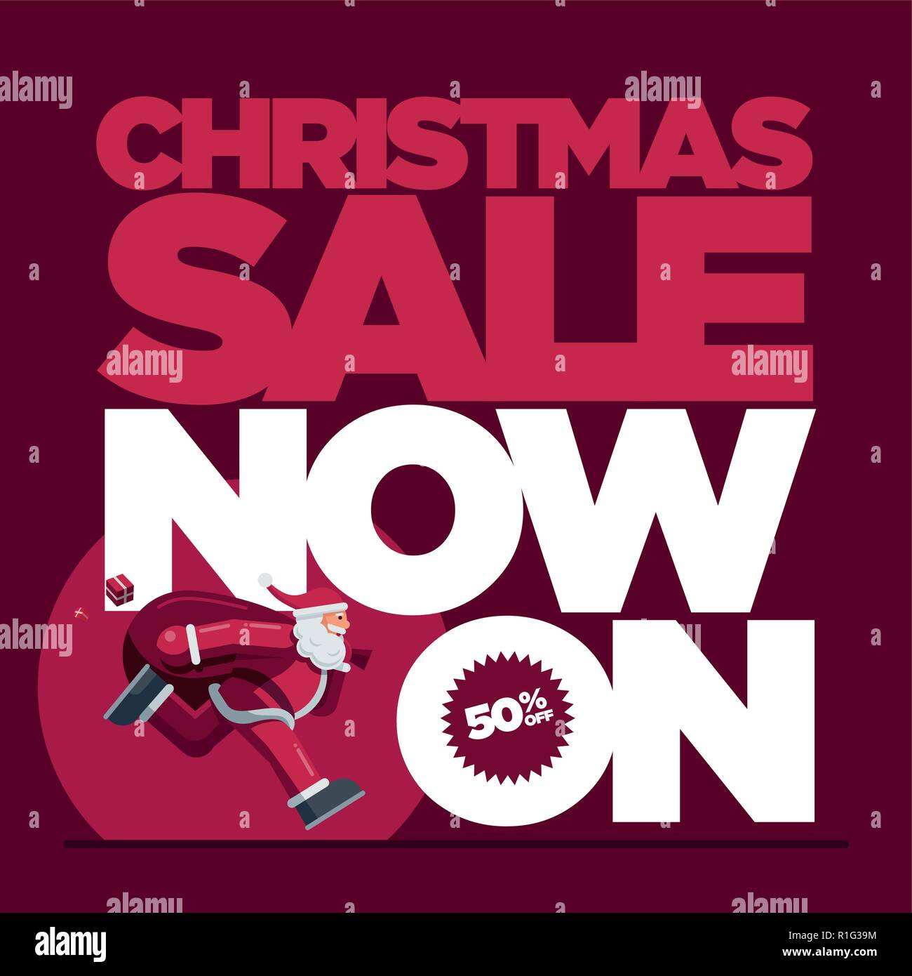Vector Christmas design with Santa Claus illustration. Christmas Sale Concept Design. Best for poster, advert or social media post. - Stock Vector