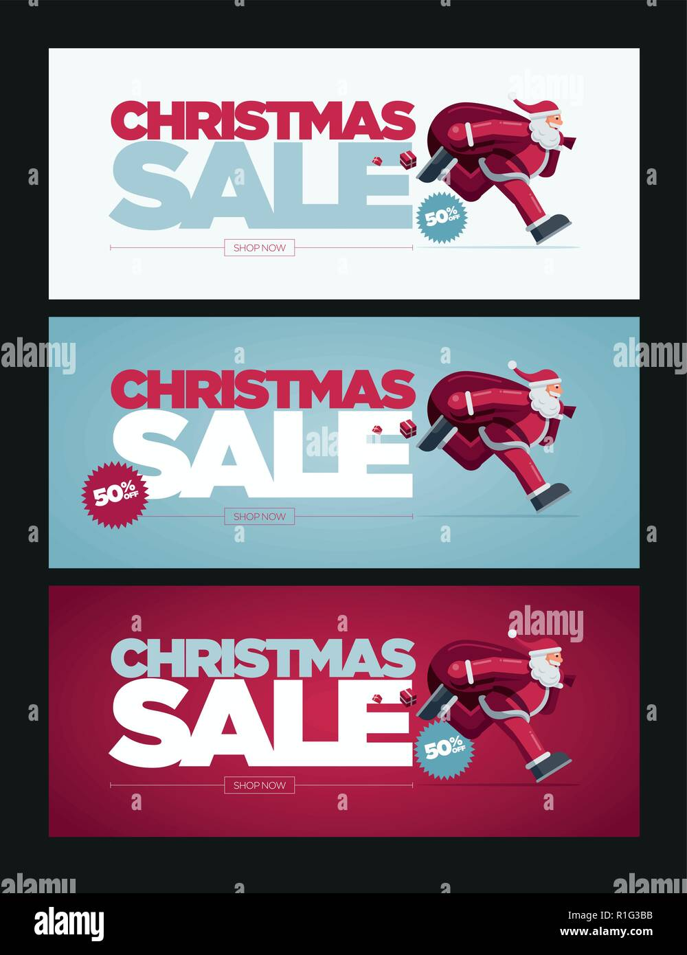 Vector Christmas banner design set with Santa Claus illustration. Christmas Sale Concept Design. Best for poster, advert or social media post. - Stock Vector