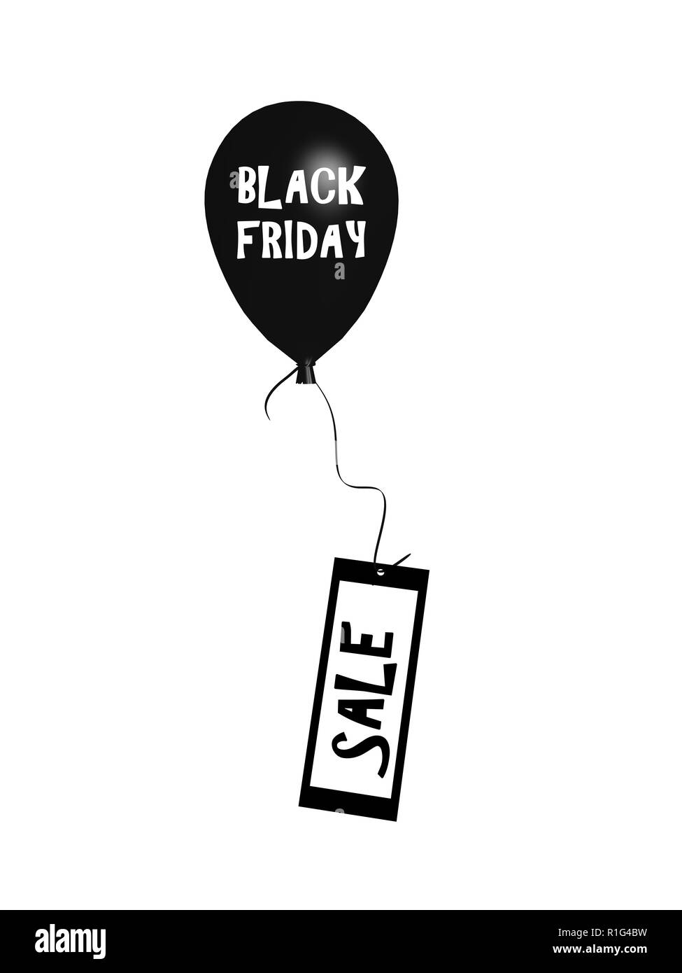 Rising balloon with the text black Friday hanging on a card with Sale. 3d rendering - Stock Image