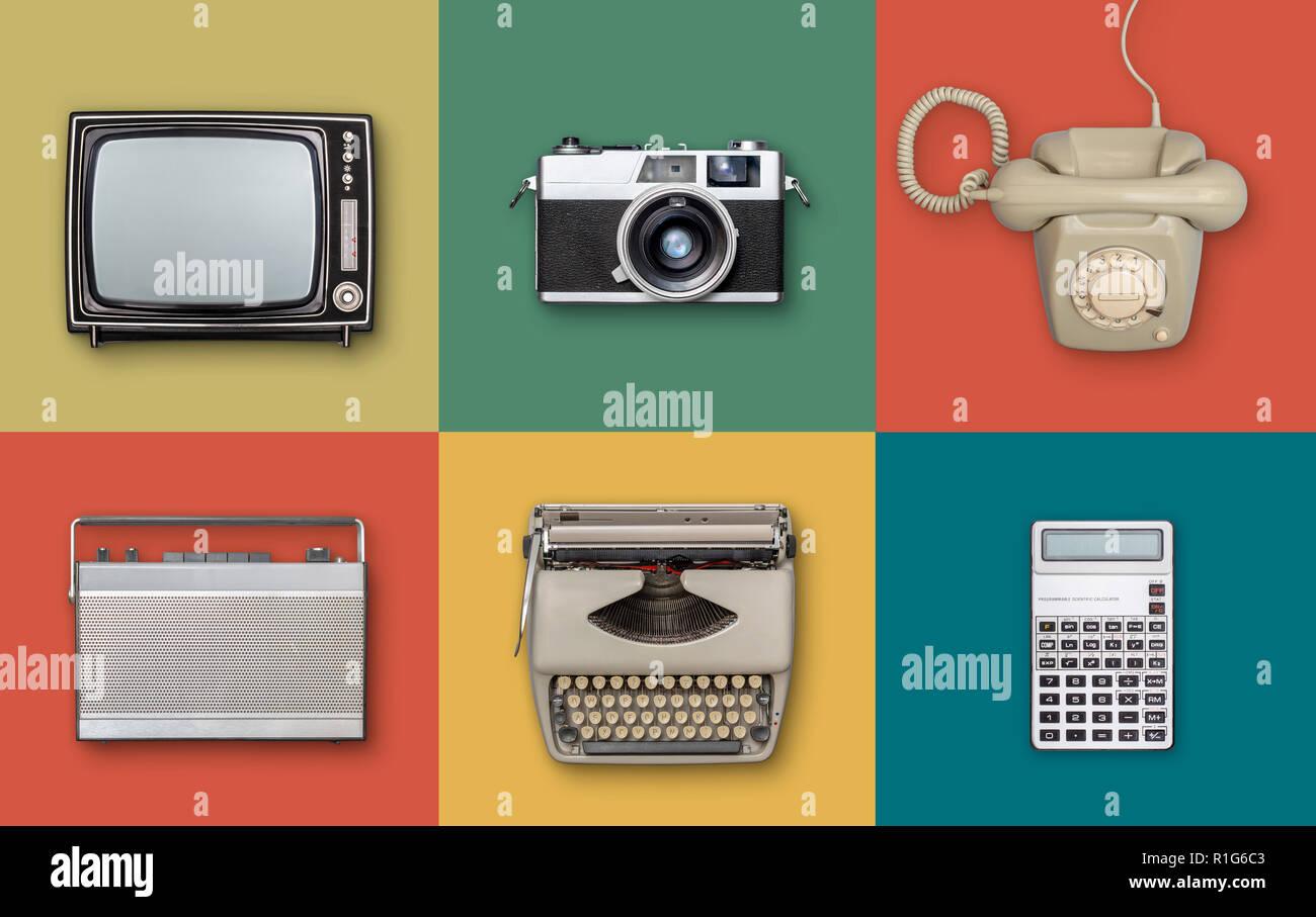 retro eighties electronics items background Stock Photo