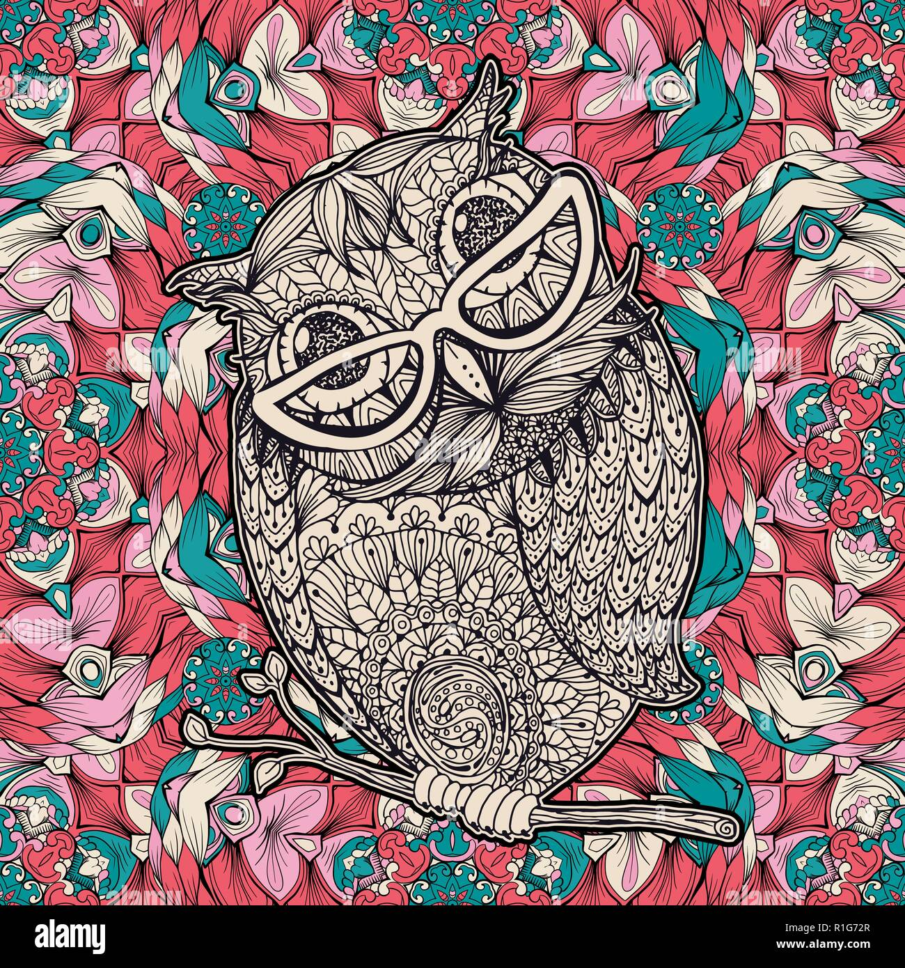 Owl With Glasses Coloring Page Or Book Cover Vector Poster Design