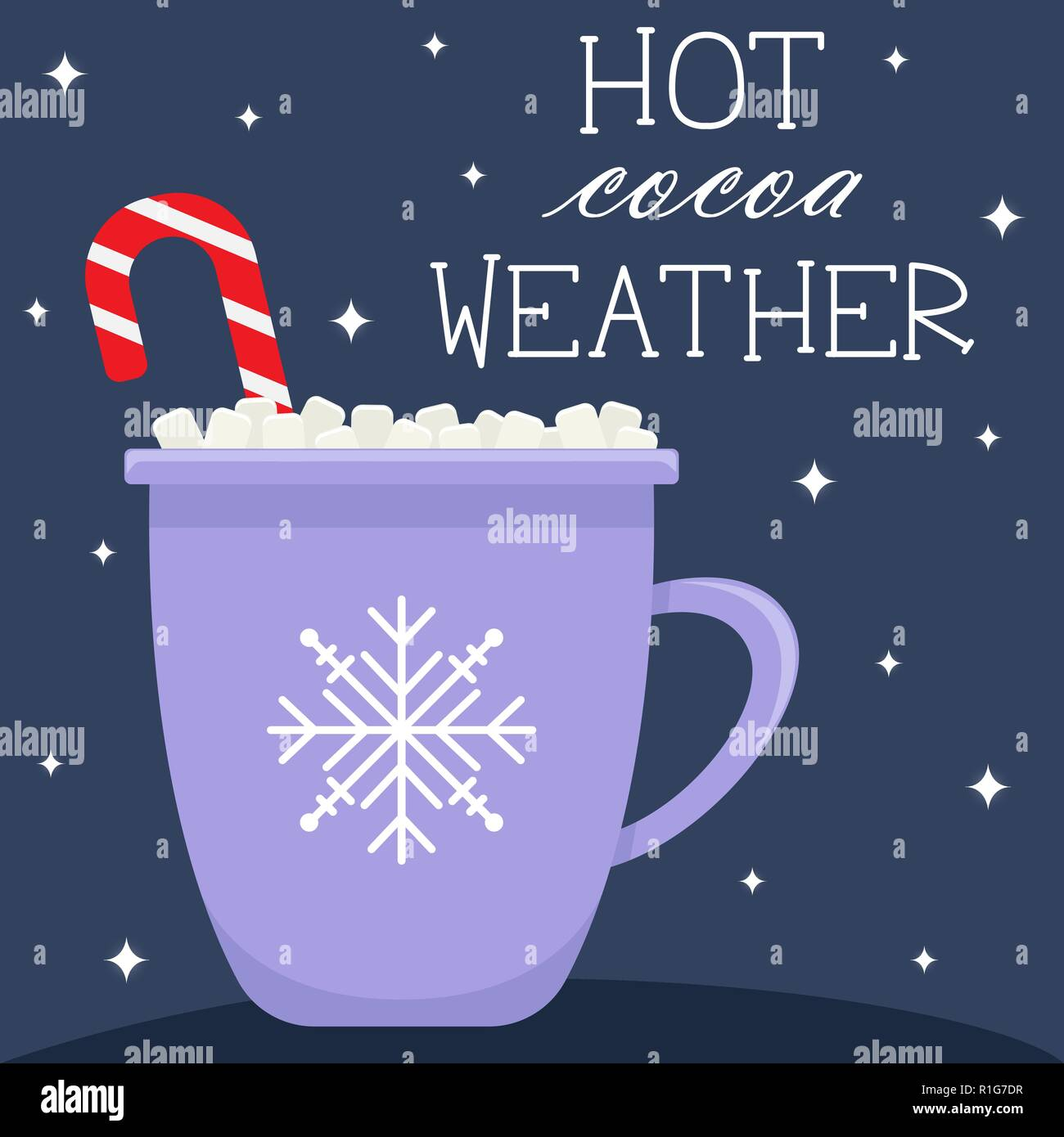 Winter greeting card in flat cartoon style. Hot cocoa weather. - Stock Vector