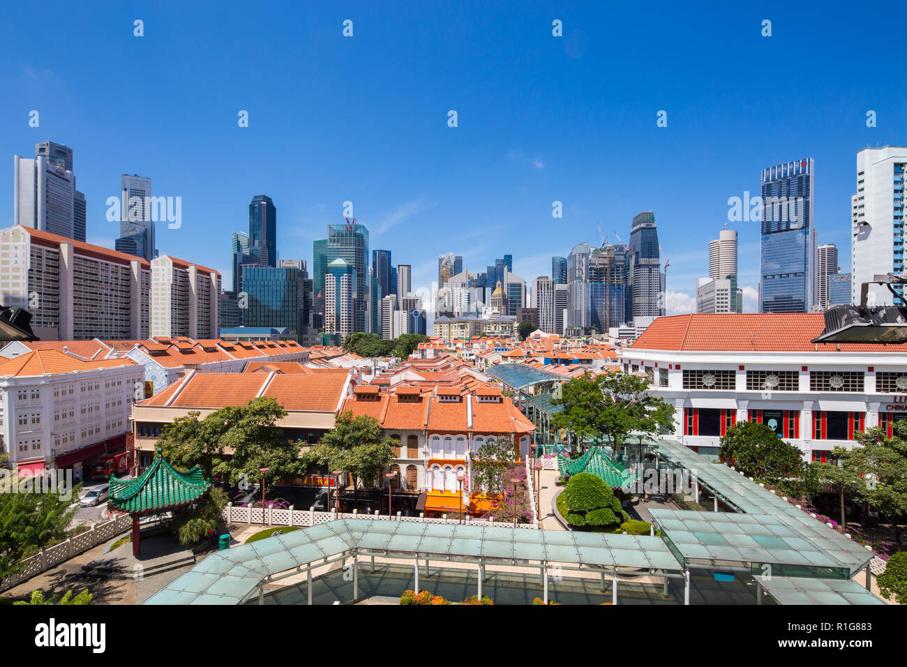 View of classicists Chinatown and the modernists Central Business District in the background at Singapore, Southeast Asia. Stock Photo