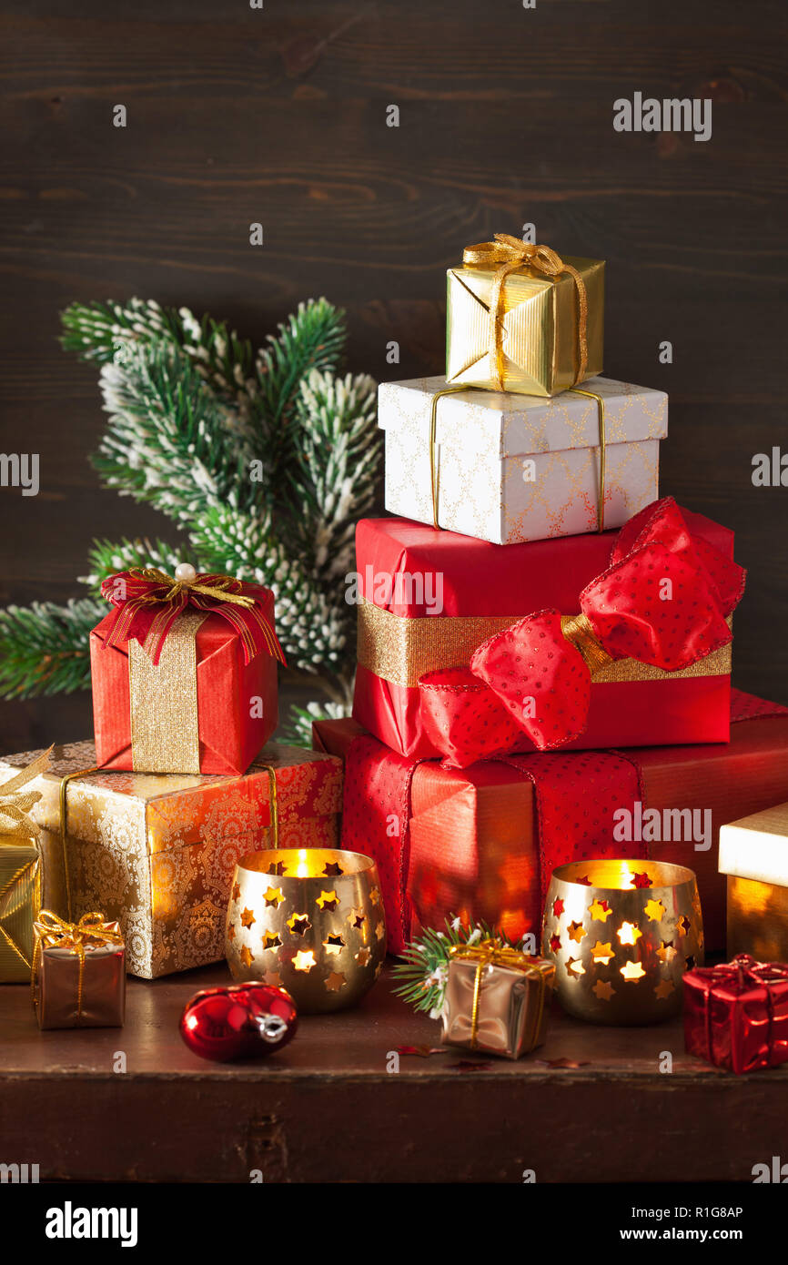 christmas gift box and decoration light stock image