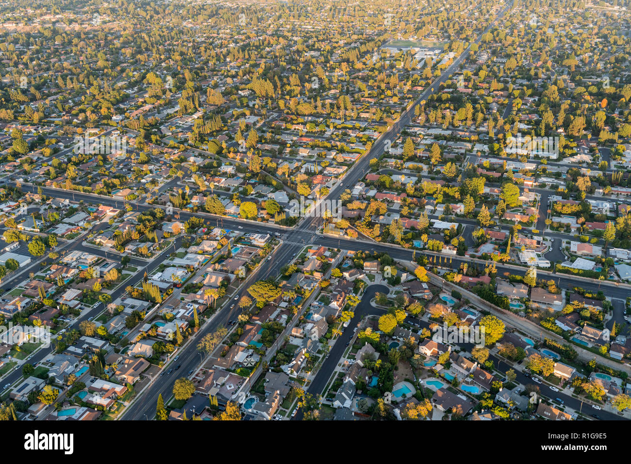 Aerial View Of Streets And Homes Near Lassen St And Corbin Ave In