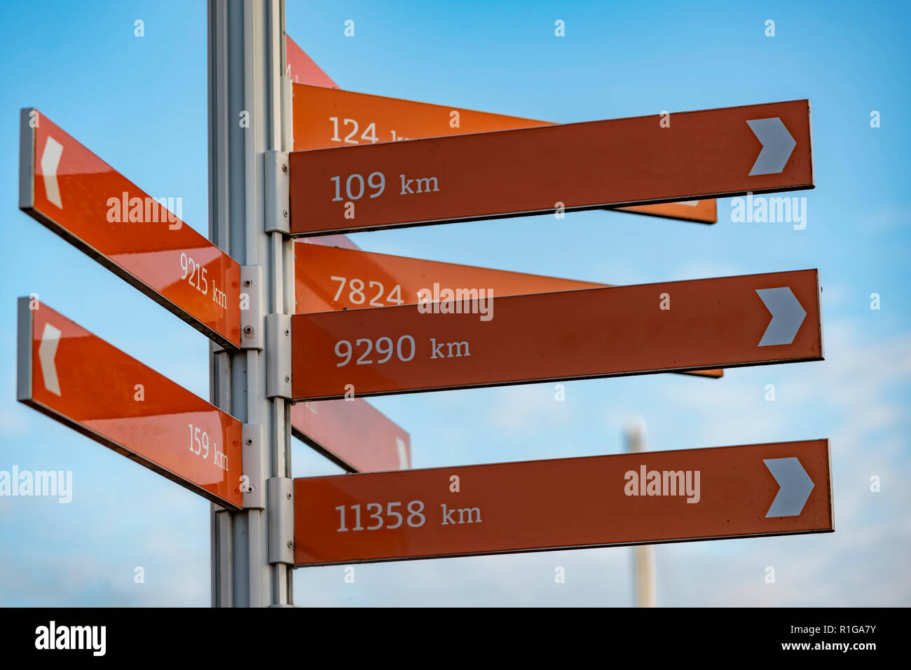 Direction pole indicating the direction of several cities and the distance from the current position in kilometer unit - Stock Image