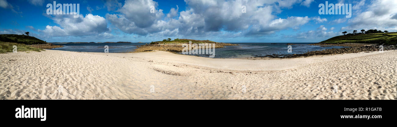 Pelistry Beach and Tolls Island Panorama; St Mary's; Isles of Scilly; UK - Stock Image