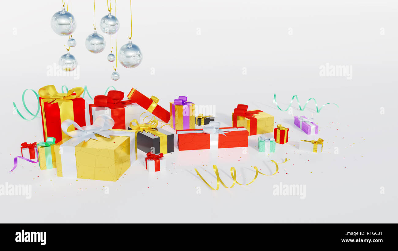 Several Multicolored gifts with shiny ribbons and many tiny stars ...