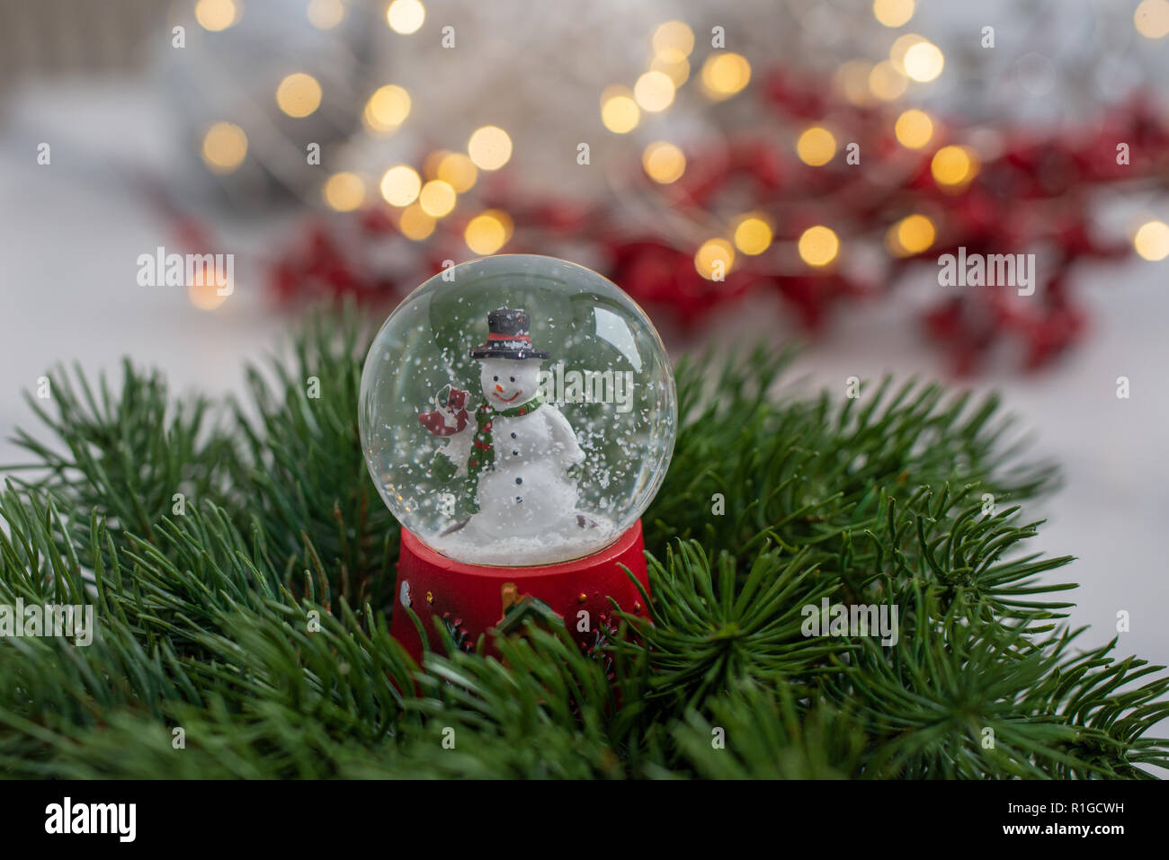 Christmas In Evergreen Snow Globe.Snow Globe With Snow Flakes And Festive Background Stock