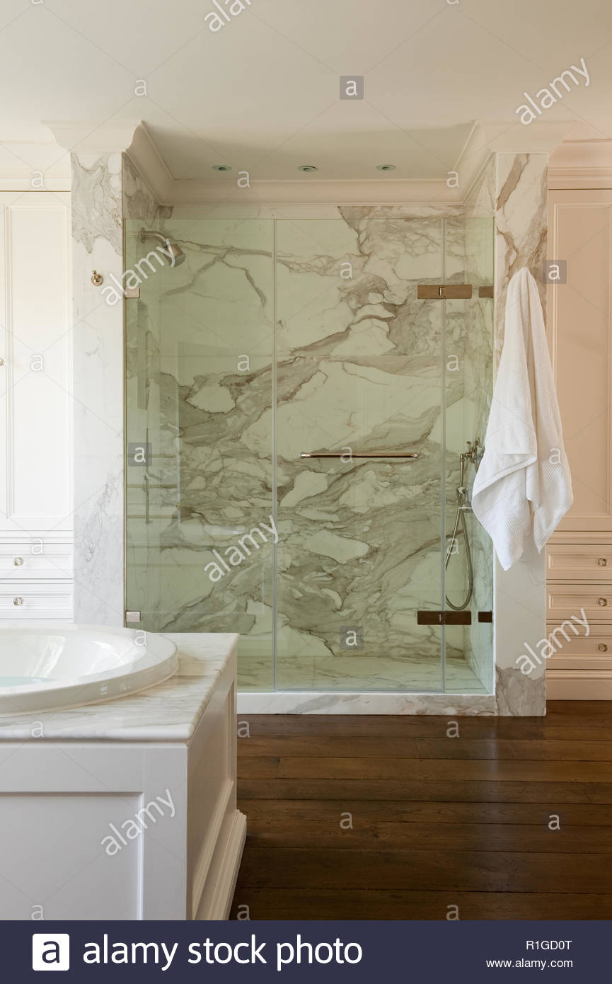 Marble shower cubicle - Stock Image