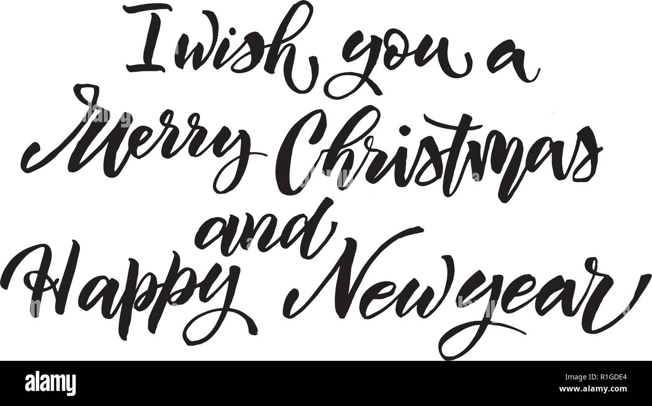 i wish you merry christmas happy new year text vector on white background lettering for invitation wedding and greeting card prints and posters hand drawn inscription stock vector image art https www alamy com i wish you merry christmas happy new year text vector on white background lettering for invitation wedding and greeting card prints and posters hand drawn inscription image224711260 html