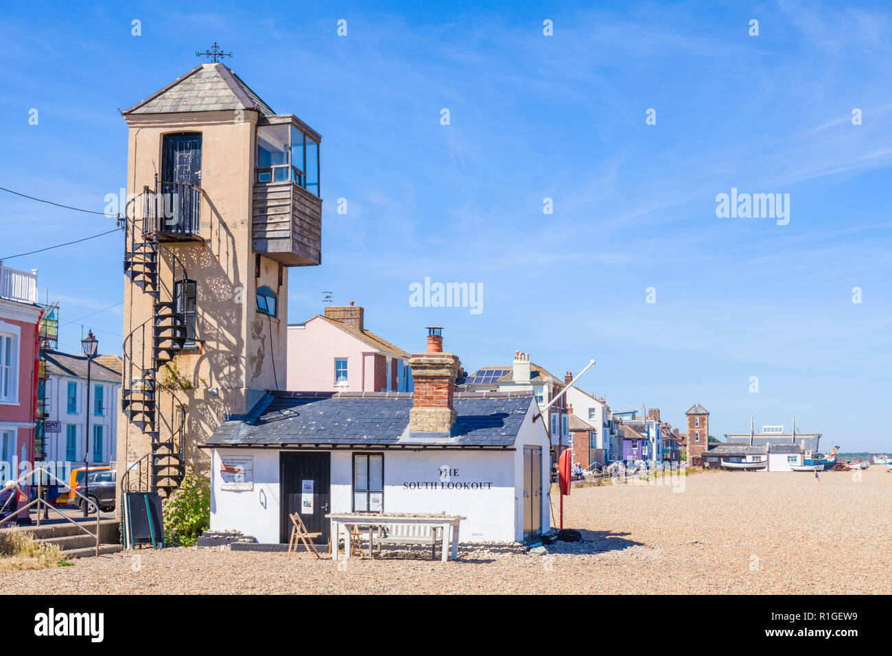Aldeburgh Suffolk Aldeburgh beach shingle beach pebble beach with the iconic tower of the Aldeburgh Beach Lookout international art destination UK - Stock Image