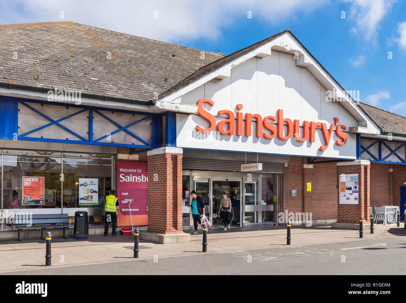 Sainsburys store exterior Sainsburys supermarket  with orange sainsburys sign outside logo Great Yarmouth Norfolk England UK GB Europe - Stock Image