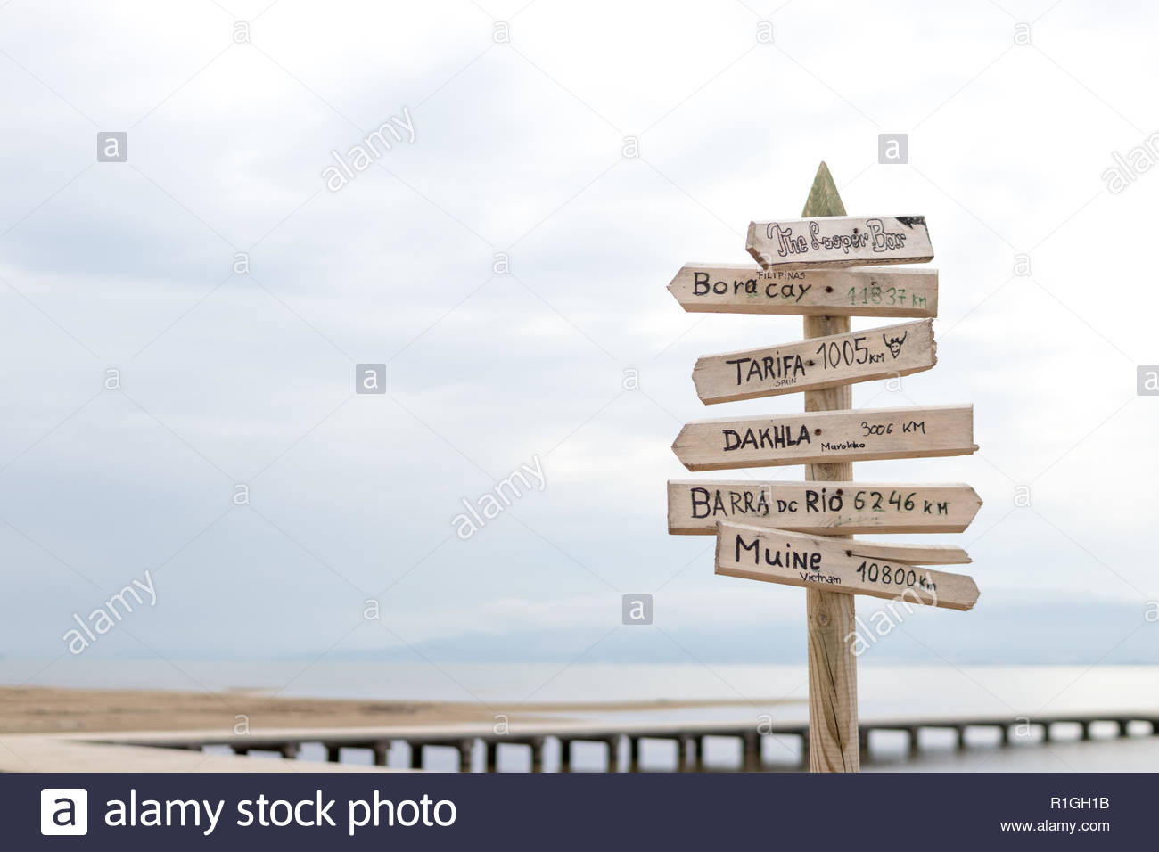 DELTEBRE, SPAIN - MAY 2018: Signals with distances to the closest surfing beaches. - Stock Image