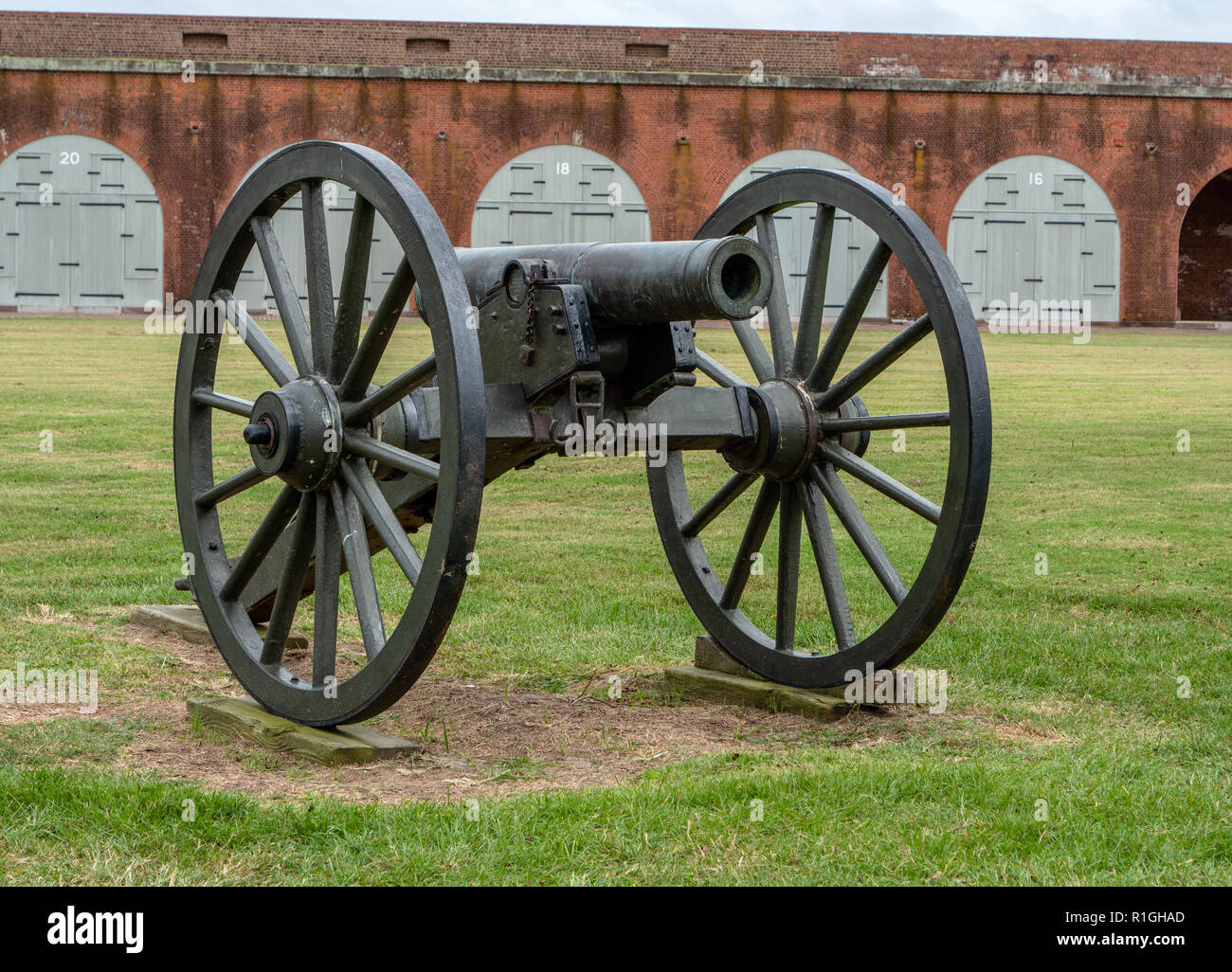 Field cannon in Fort Pulaski National Monument guarding the Savannah River in Georgia USA - Stock Image