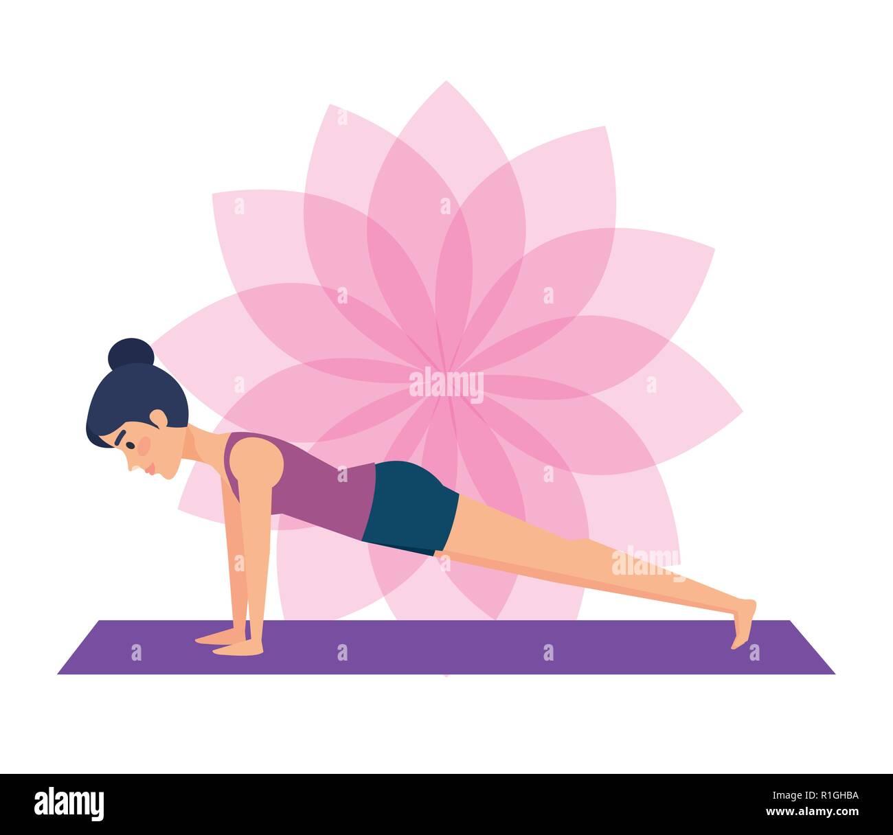 Girl doing yoga pose design - Stock Image