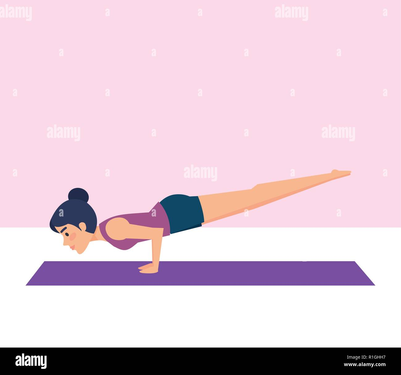 Girl doing yoga pose design - Stock Vector