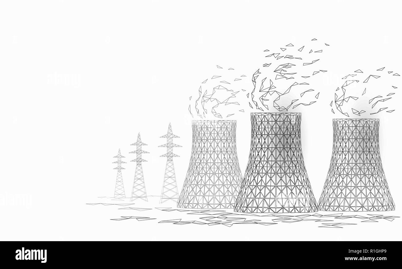 Nuclear power station cooling tower low poly. 3d render ecology pollution save planet environment concept triangle polygonal. Radioactive nuclear reactor electricity vector illustration - Stock Image