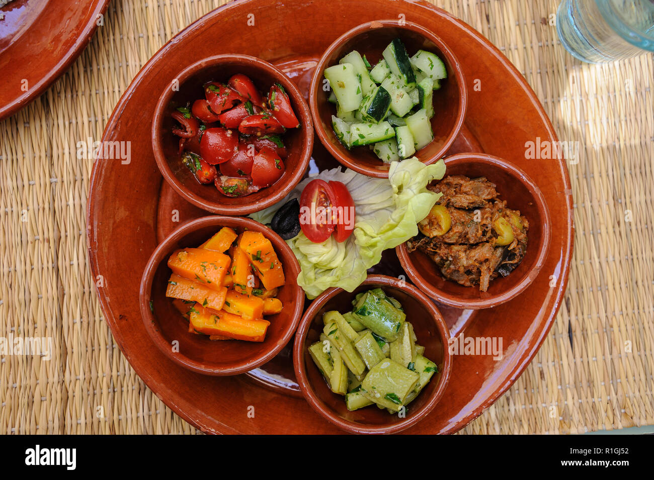 18-04-11. Marrakech, Morocco.  Typical Morrocan salad of vegetables and pickled vegetables. Photo © Simon Grosset / Q Photography - Stock Image