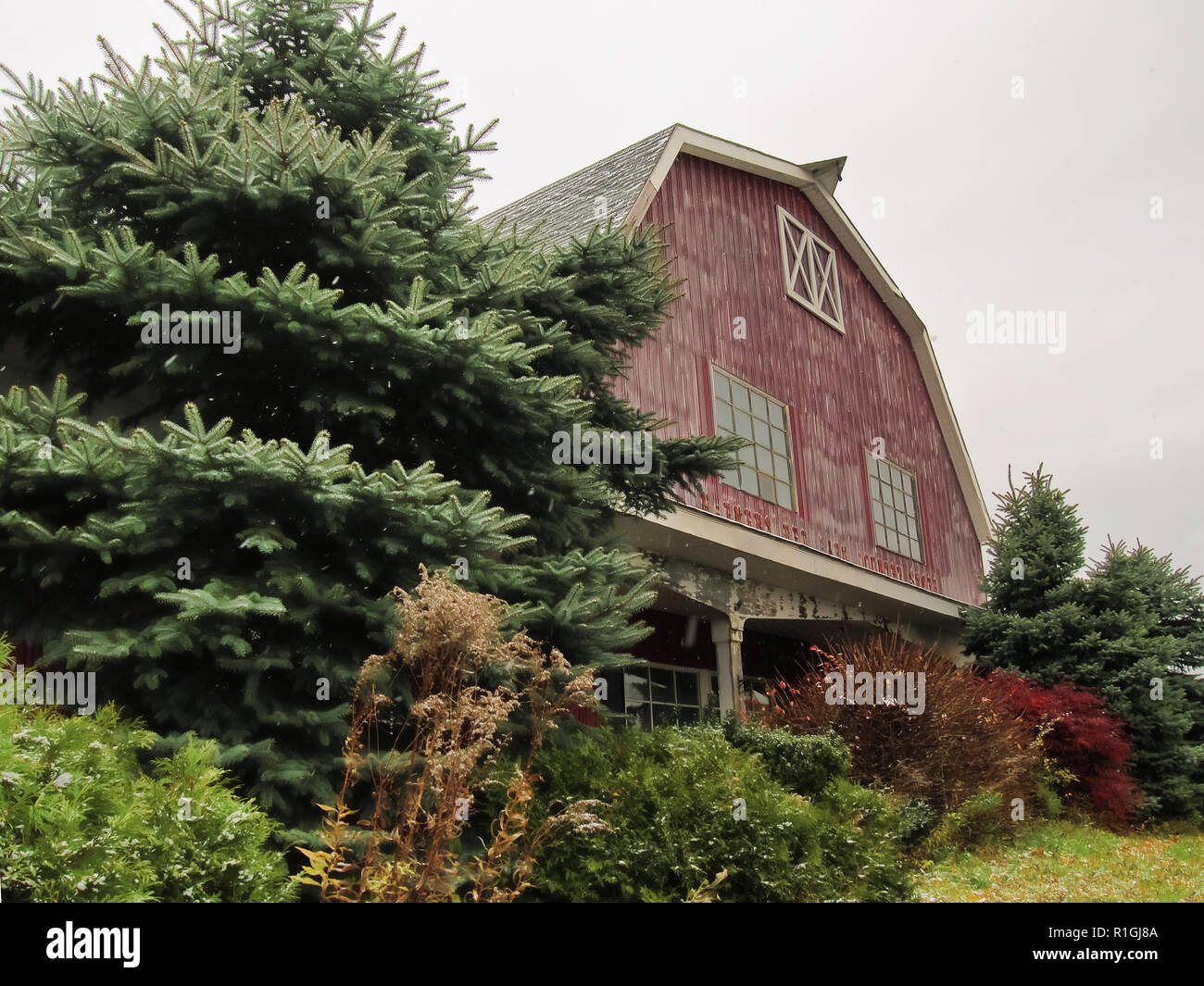North Syracuse, New York, USA. November 10, 2018. Past North Syracuse landmark,  the Hafner's Red Barn Country Store, once a large holiday and gift sh - Stock Image