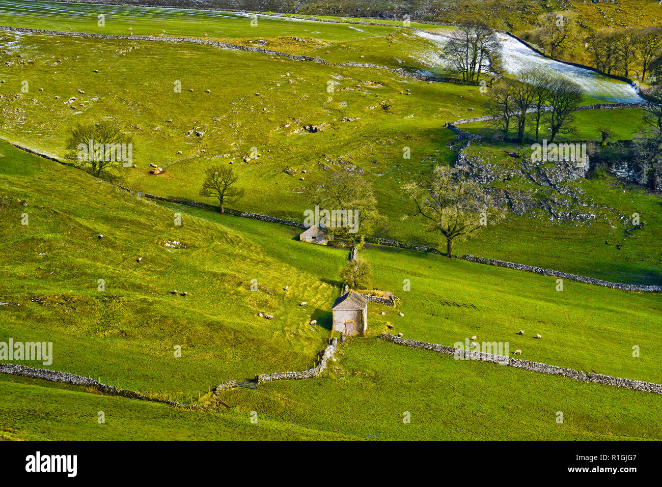 Old field barns near Dowel Dale, in the upper Dove Valley, Peak District, England. - Stock Image