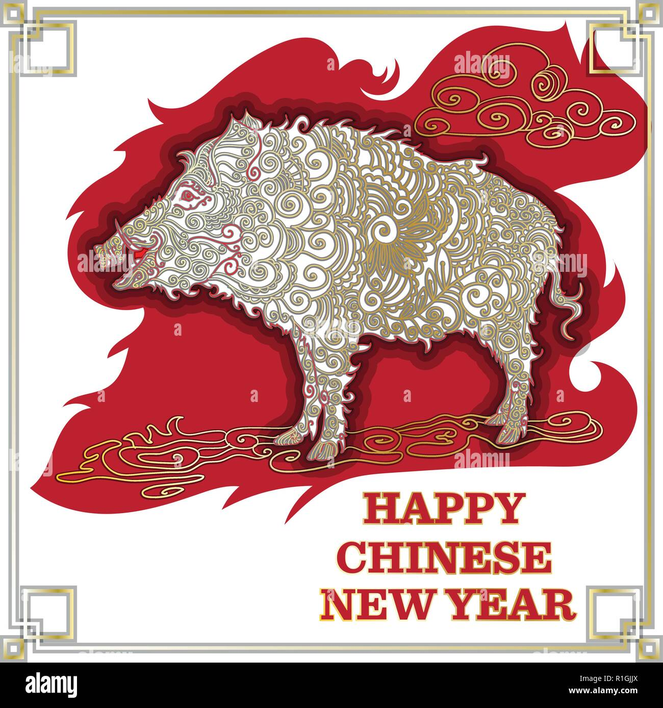 chinese new year 2019 zodiac pig happy new year card pattern vector