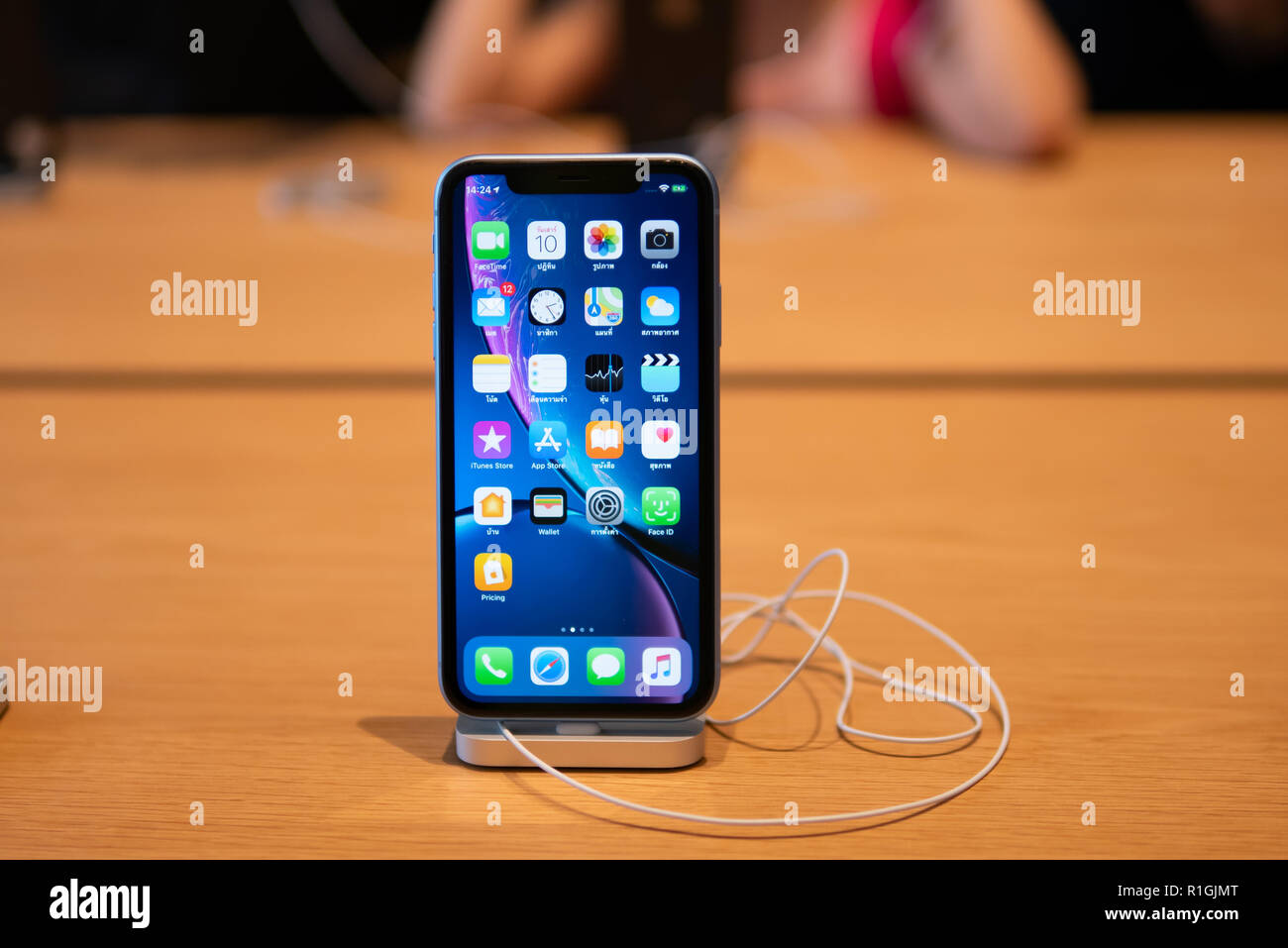 Bangkok, Thailand - November 10, 2018: Apple iPhone XR mounted on the stand at the Apple store. - Stock Image