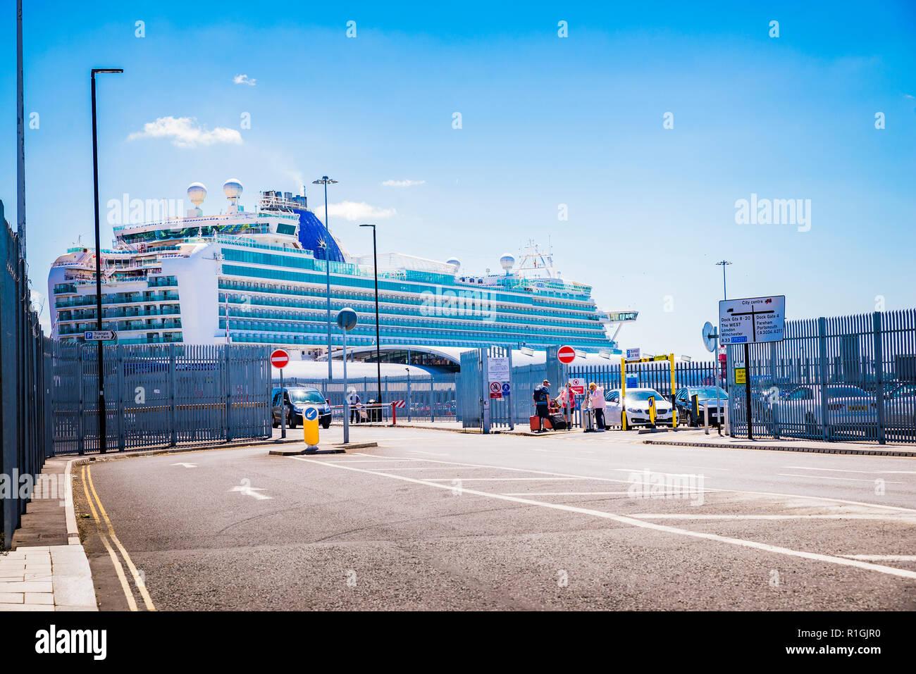 Entrance to the cruise terminal. Port of Southampton, Southampton, Hampshire, England, United Kingdom, UK, Europe - Stock Image