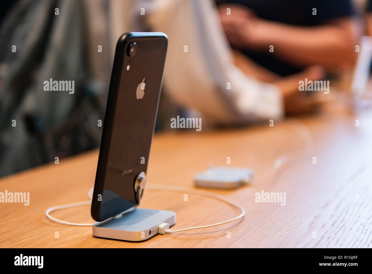 Bangkok, Thailand - November 10, 2018: The Apple iPhone XR mounted on the desk at the Apple store. - Stock Image