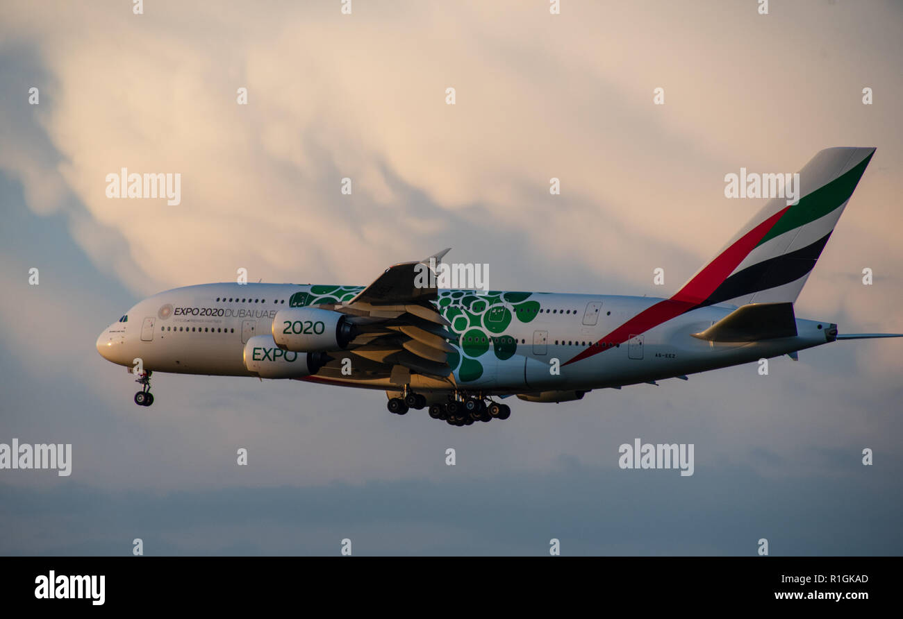 8 JULY 2018 Russia, Moscow. The aircraft Airbus A380 Emirates Airlines with the symbolism of the world exhibition EXPO 2020 in Dubai is landing at the - Stock Image