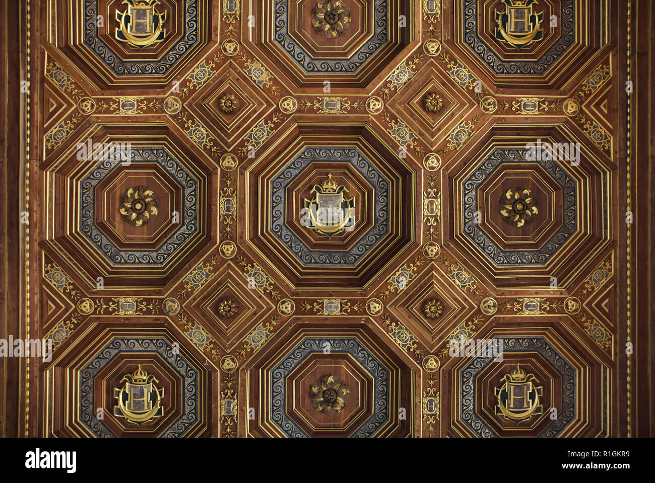Renaissance coffered ceiling in the ballroom in the Palace of Fontainebleau (Château de Fontainebleau) near Paris, France. The room decoration started under King Francis I of France was completed by his son Henri II. Stock Photo