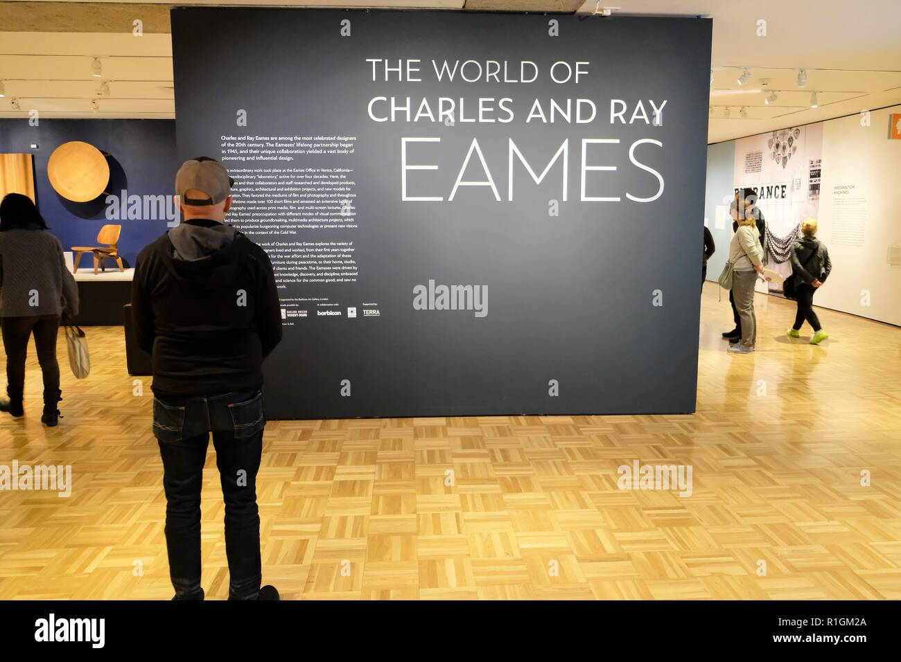 Patron reading about the The World of Charles and Ray Eames exhibit at the Oakland Museum of California (November 2018), Oakland, California, USA. Stock Photo