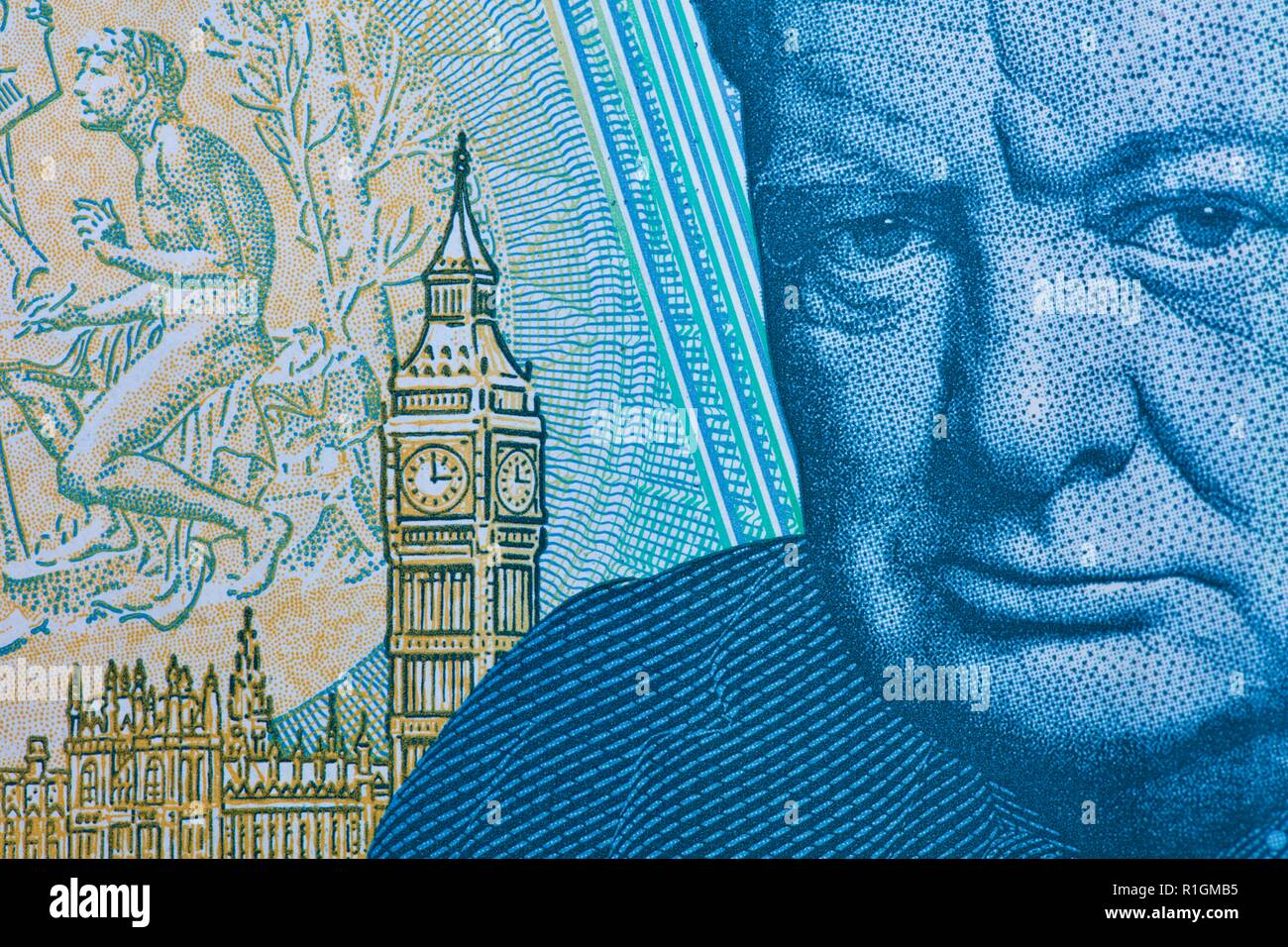 The Bank of England polymer £5 note featuring Sir Winston Churchill - Stock Image