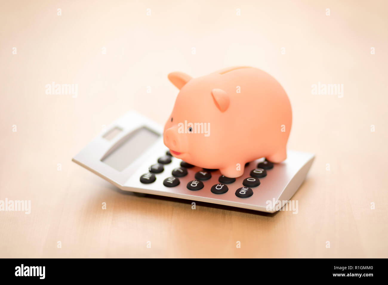 Piggy bank on calculator. Saving, accounting or banking concept. Stock Photo