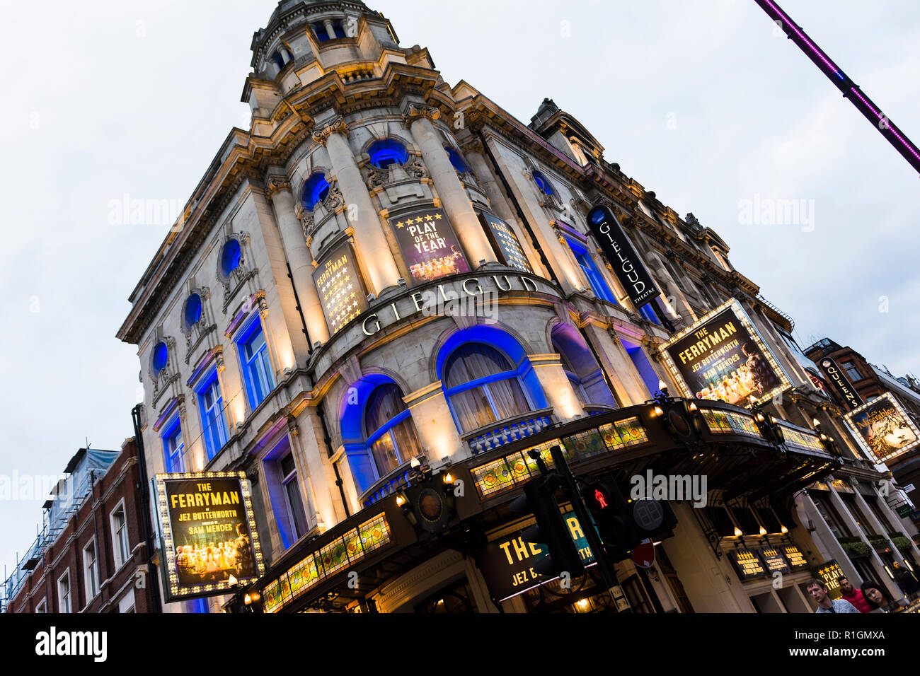 The Gielgud Theatre is a West End theatre, located on Shaftesbury Avenue in the City of Westminster, London, at the corner of Rupert Street. The Ferry - Stock Image