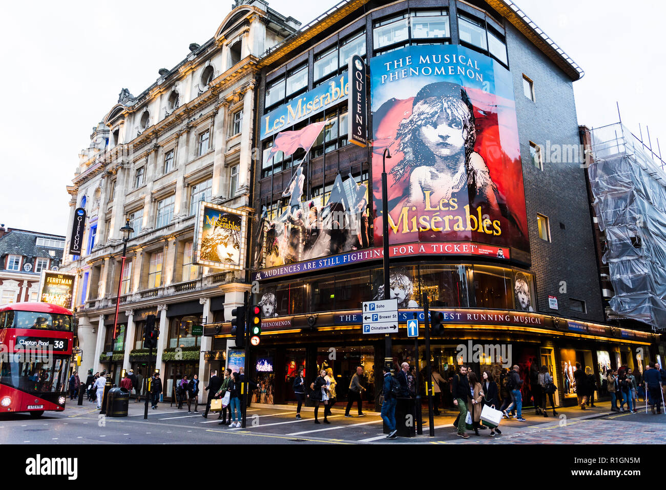Les Miserables. The Queen's Theatre is a West End theatre located in Shaftesbury Avenue on the corner of Wardour Street in the City of Westminster. Lo - Stock Image