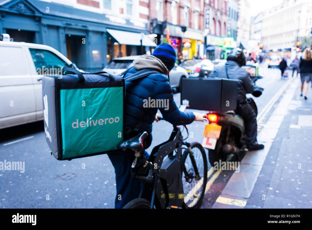 Deliveroo Food Delivery Bikes. London, England, United Kingdom. - Stock Image