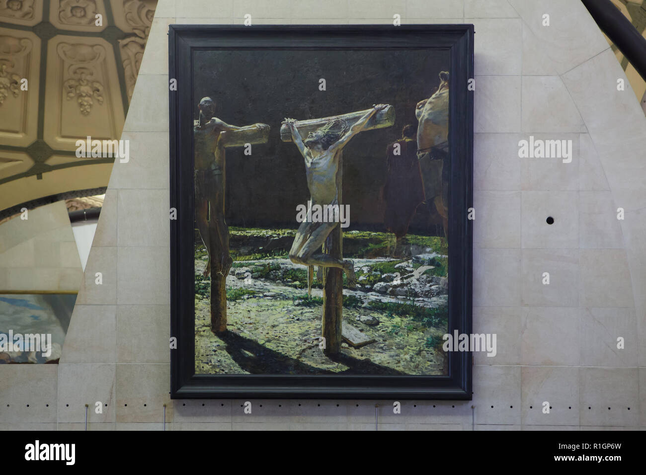 Painting 'Golgotha' by Russian realist painter Nikolai Ge (1892) on display in the Musée d'Orsay in Paris, France. - Stock Image
