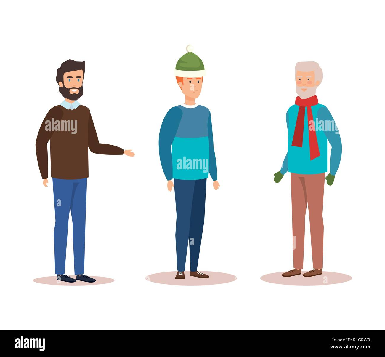 family members with winter clothes - Stock Image