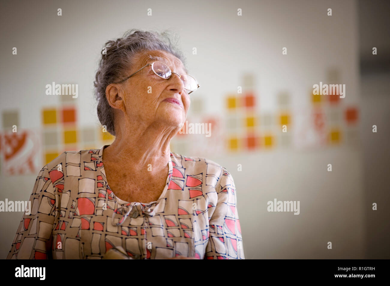 Portrait of an old lady. - Stock Image