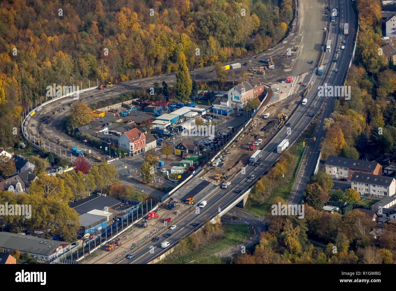 Aerial view, motorway construction site A2 Altenessen, Karnap, motorway A2, softening of the road ceiling, blocking of one lane, Essen, Ruhr area, Nor Stock Photo