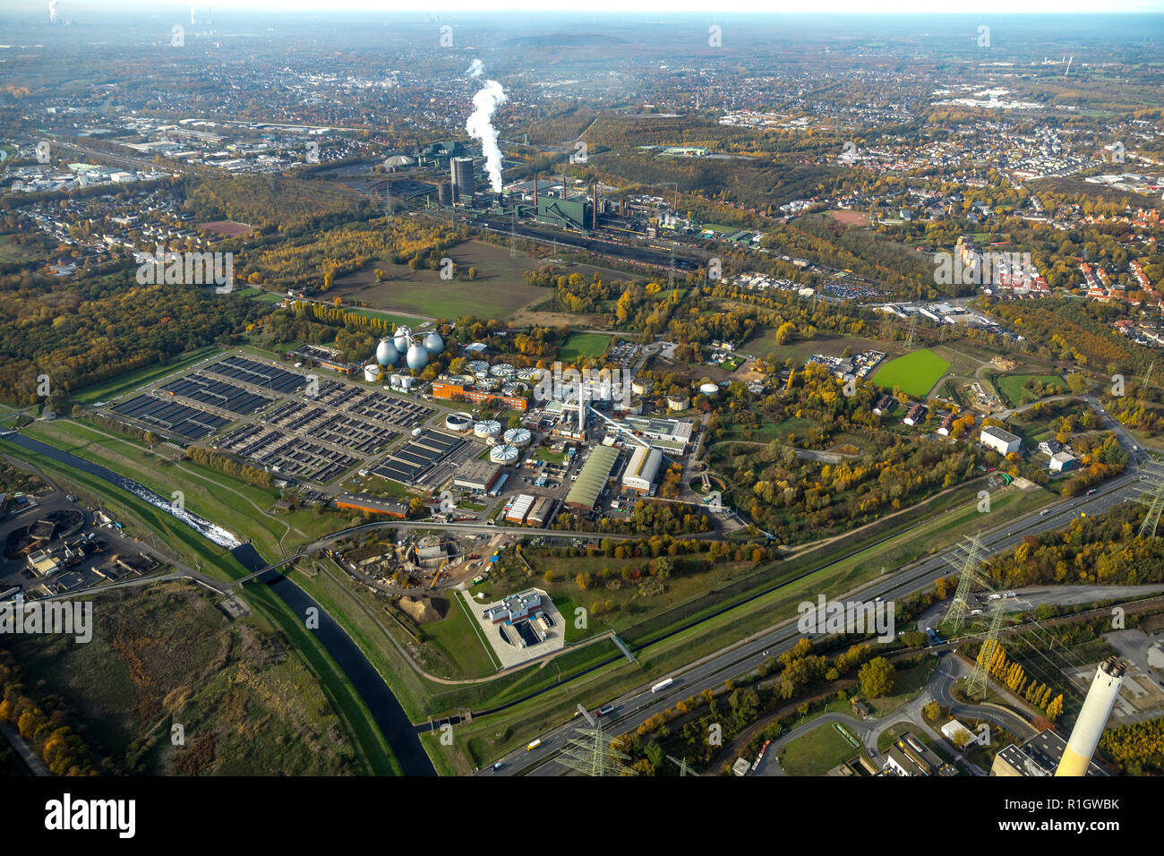 Aerial view, Bottrop wastewater treatment plant of the Emschercooperative, Emscher, new building Pump house, water management, Karnap, Bottrop, Ruhr a - Stock Image