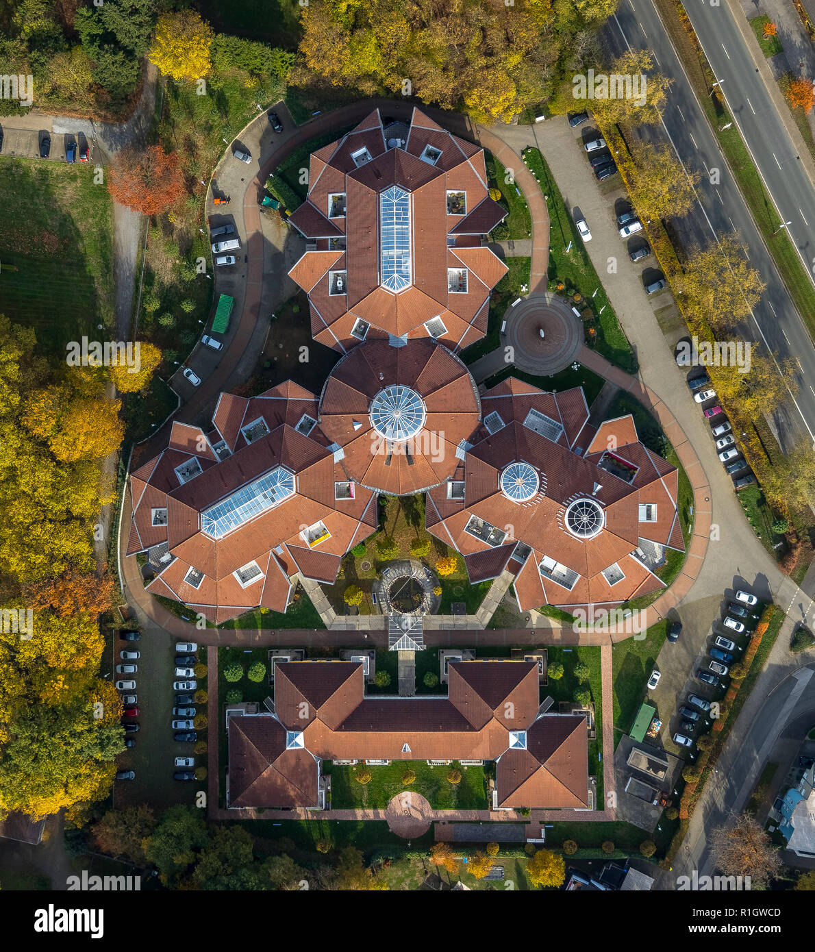 Aerial View, retirement home, nursing home, KWA pin Urbana in the city garden, three-wing building, red roof tiles, Bottrop, Ruhr, North Rhine-Westpha - Stock Image