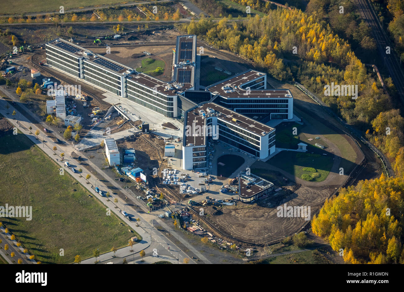 Aerial View, Amprion GmbH, based in Dortmund is a German transmission system operators, new place, new headquarters Amprion at Phoenix West, Dortmund- Stock Photo