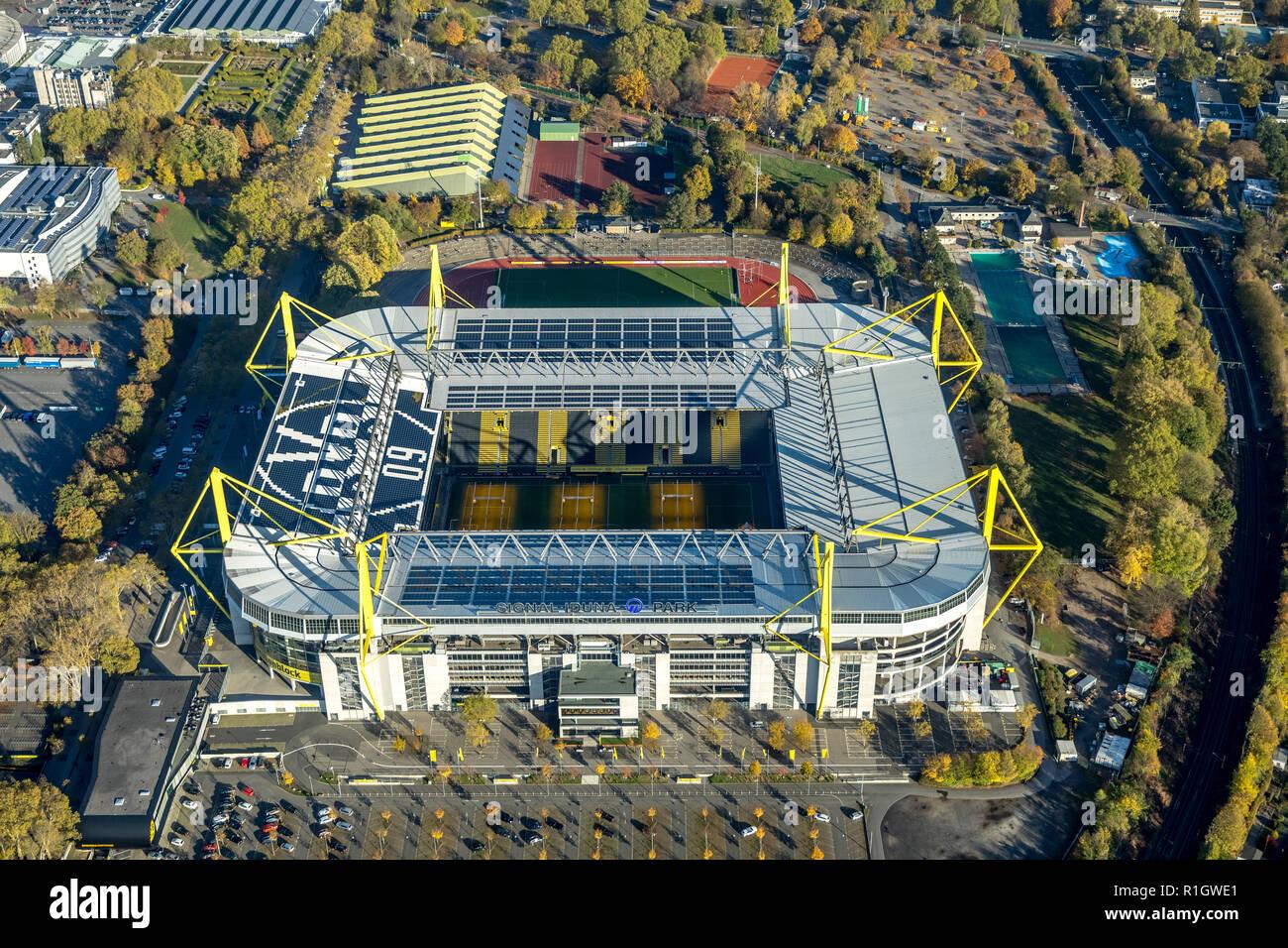 Aerial View, Westfalenstadion, SignalIdunaPark, BVB Stadion, stadium heating, soil heating, solar panels, Schonau, Dortmund, Ruhr, Nordrhein-Westfalen - Stock Image