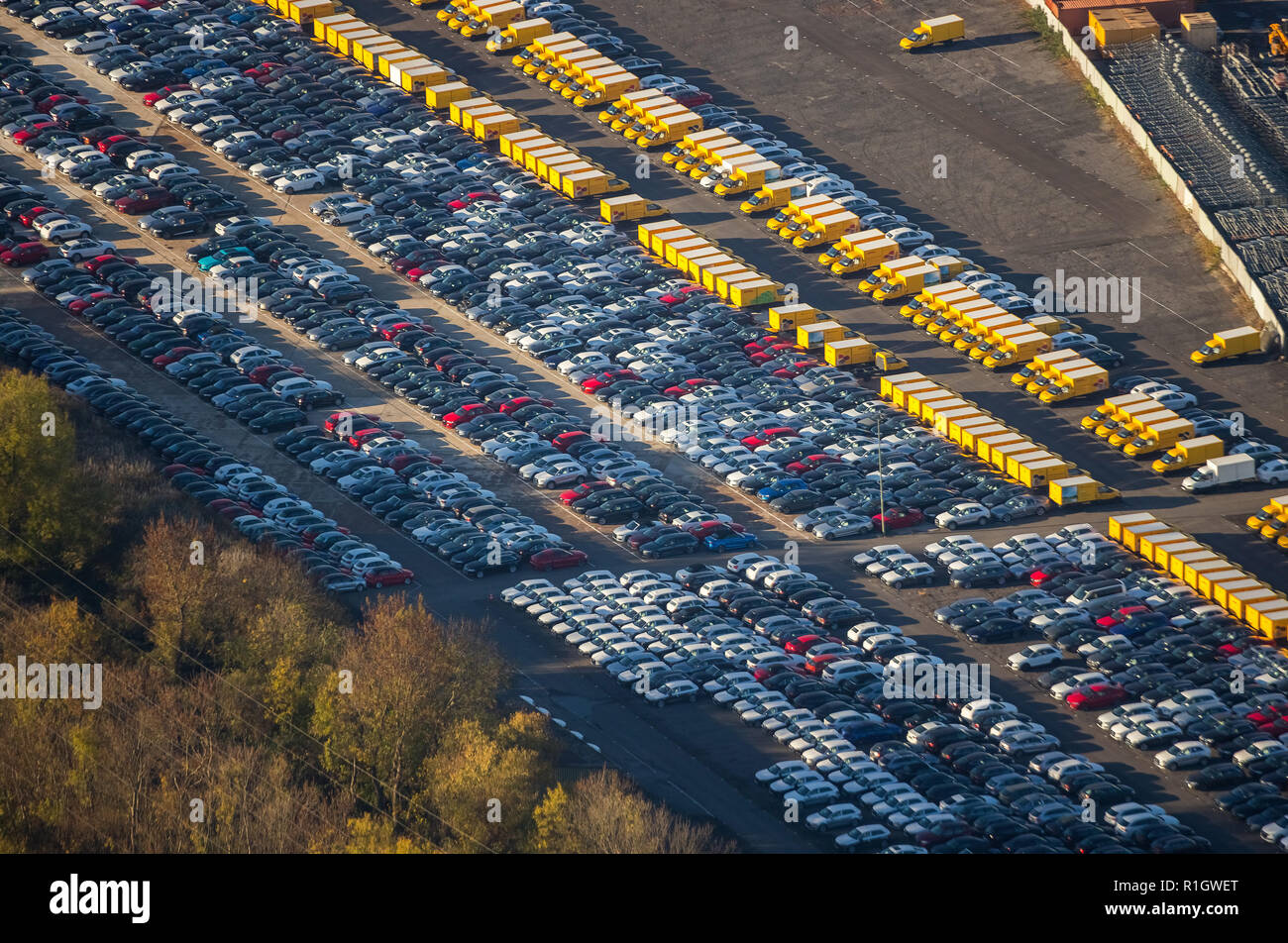 Aerial View, new electric cars the Federal Post Office, E-vans, electric vans, postal delivery, Causeway, new car parking, new cars DHL, Externberg, D - Stock Image