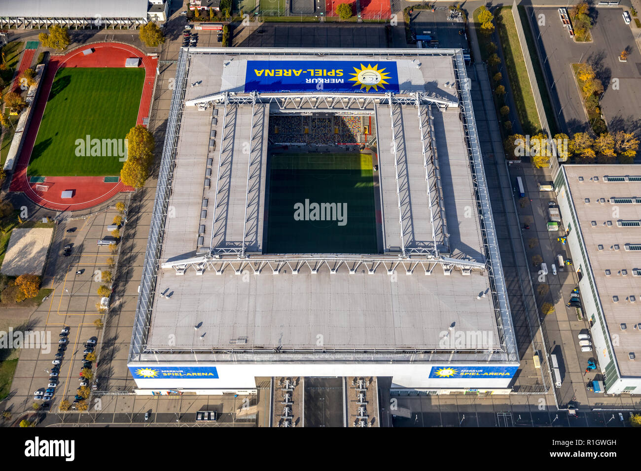 Aerial View, Merkur Gaming Arena Dusseldorf, at Dusseldorf, football stadium, convention center at the fair Dusseldorf, Stockum, Dusseldorf, Niederrhe - Stock Image