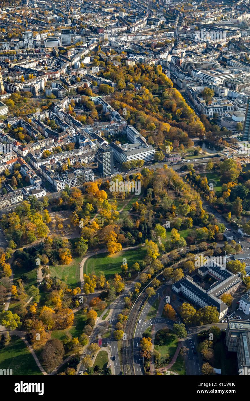 Aerial View, courtyard, green area, District 01, Dusseldorf, Rhineland, North Rhine-Westphalia, Germany, DEU, Europe, aerial view, birds-eyes view, ae - Stock Image