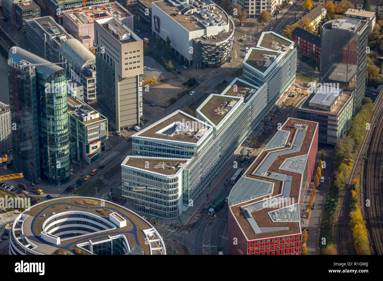 "Aerial View, FLOAT, Dusseldorf, new construction of office and commercial building ""FLOAT"" WITTE project management, Dusseldorf media port, Francis St Stock Photo"