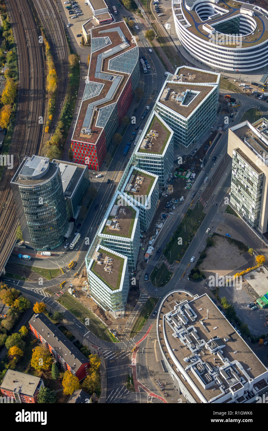 Aerial View, FLOAT, Dusseldorf, new construction of office and commercial building 'FLOAT' WITTE project management, Dusseldorf media port, Francis St - Stock Image